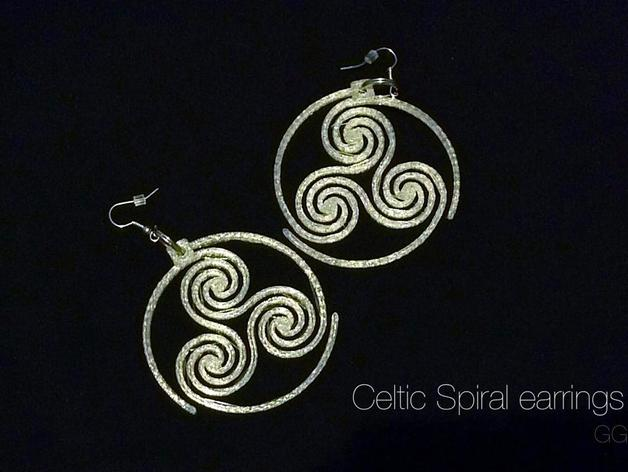 三重螺旋形耳环 3D打印模型渲染图