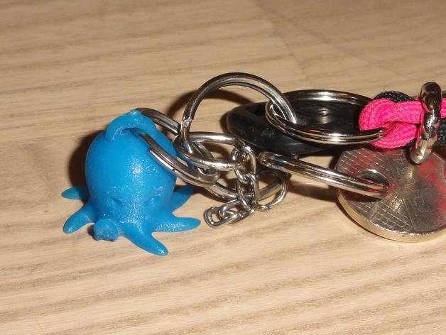 迷你章鱼钥匙扣 3D打印模型渲染图