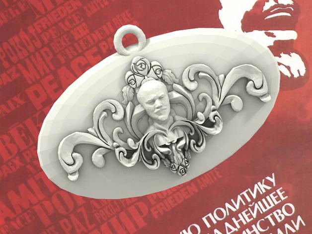 列宁浮雕吊坠 3D打印模型渲染图