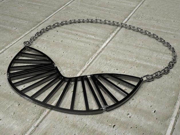 射线形状项链 3D打印模型渲染图
