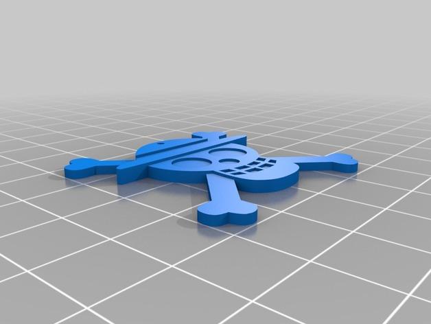 海盗旗 坠饰 3D打印模型渲染图