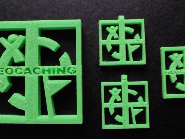 Geocaching地理藏宝  吊坠 3D打印模型渲染图