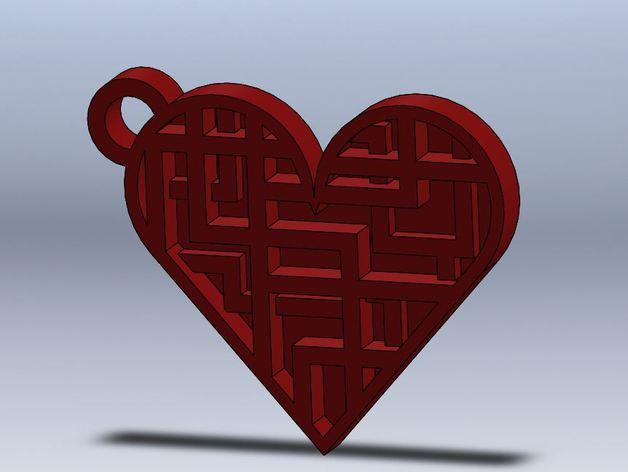 心形钥匙坠 3D打印模型渲染图