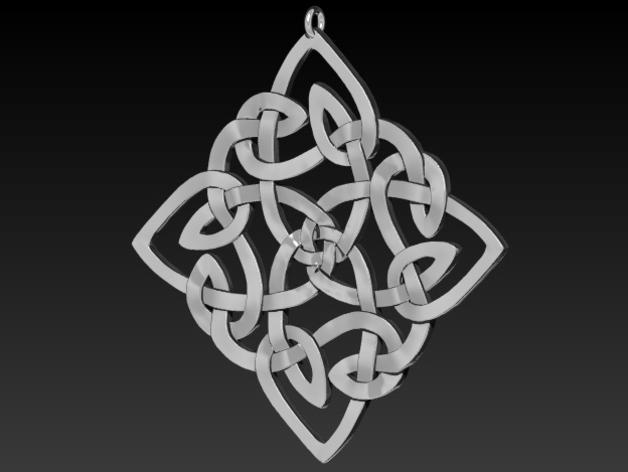 凯尔特 吊坠 3D打印模型渲染图