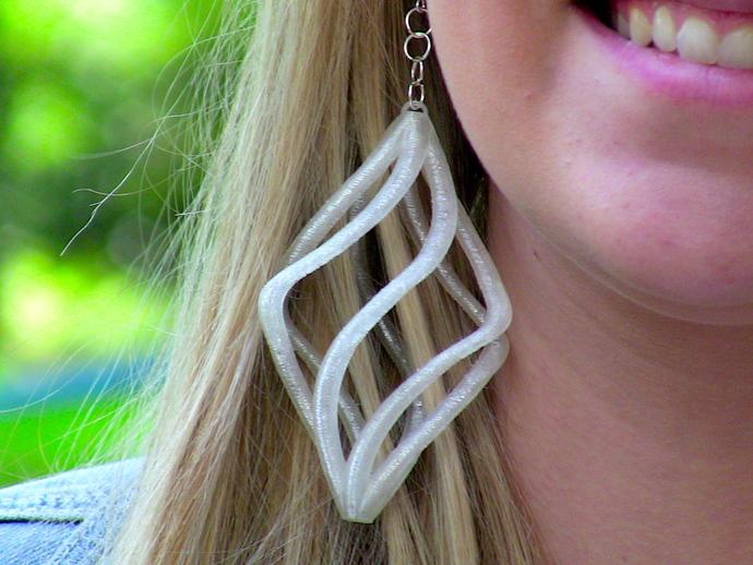 镂空螺旋耳环 3D打印模型渲染图