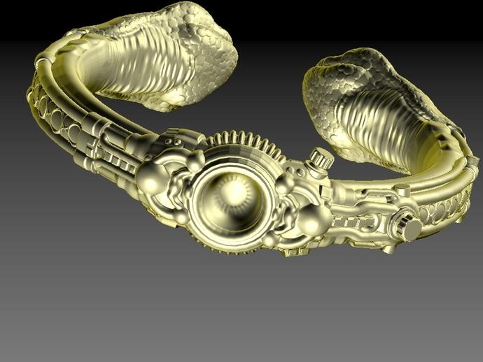 朋克风蛇头手镯 3D打印模型渲染图