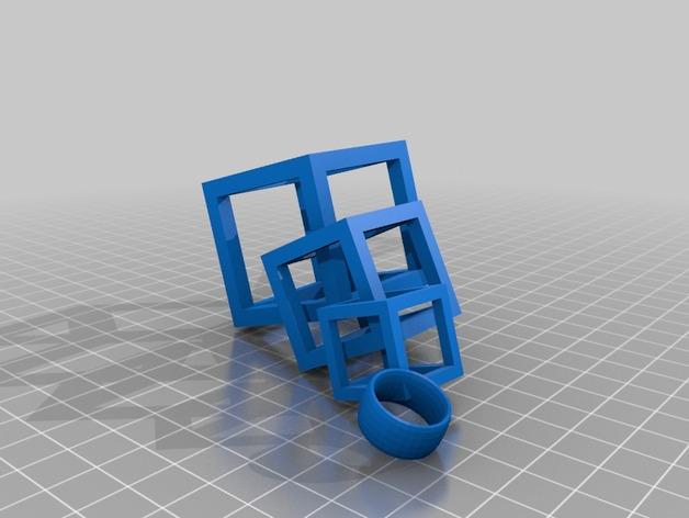连锁方块 耳坠  3D打印模型渲染图