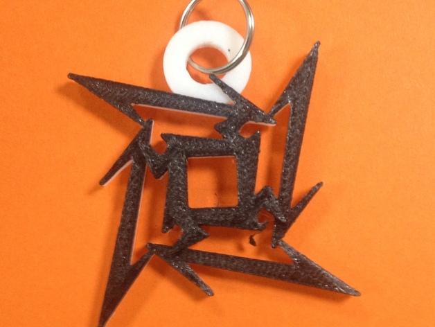 金属乐队logo 钥匙坠 3D打印模型渲染图