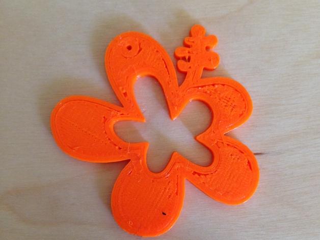 小花 项链坠 3D打印模型渲染图