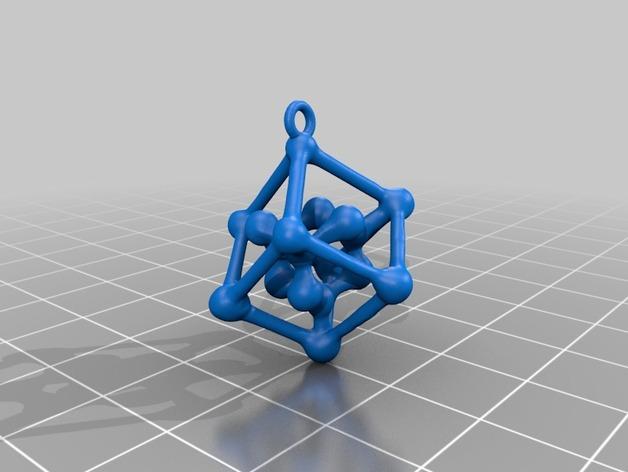 钻石分子 耳坠  3D打印模型渲染图