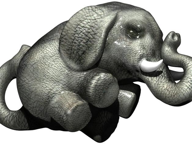 幸运小象  3D打印模型渲染图