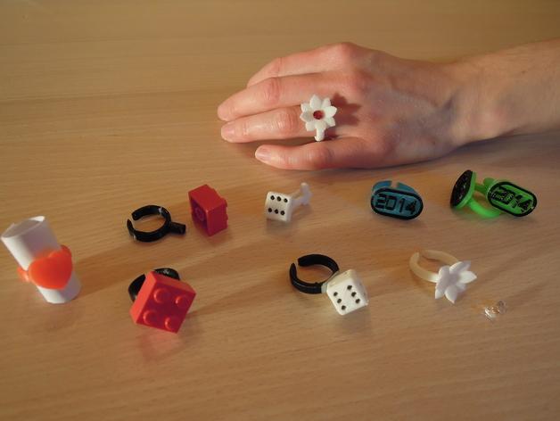 山茶花 骰子 积木 戒指 3D打印模型渲染图