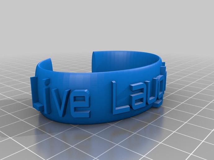 椭圆形 刻字手镯 3D打印模型渲染图