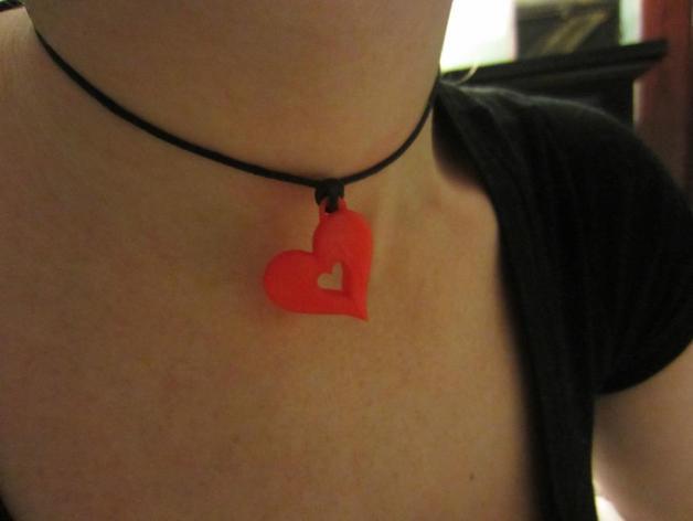 心形项链坠 3D打印模型渲染图