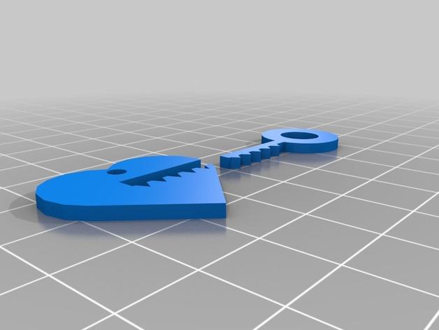 钥匙吊坠 心形吊坠 3D打印模型渲染图