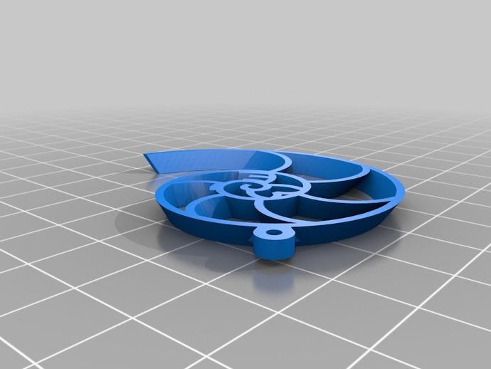 鹦鹉螺 耳坠 3D打印模型渲染图