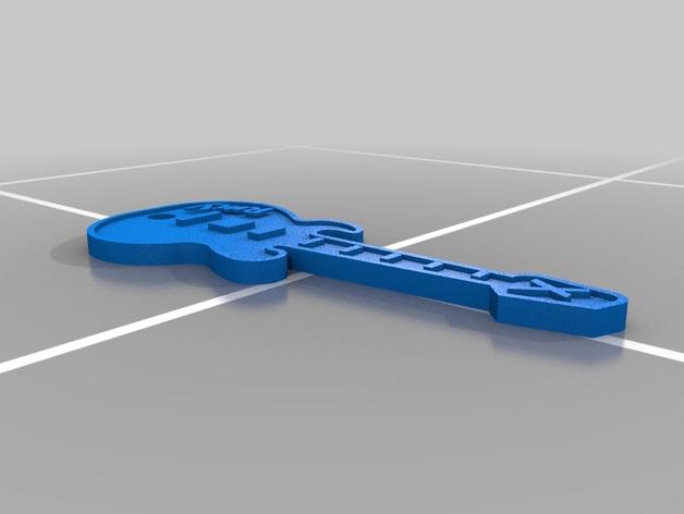 吉他 钥匙坠 3D打印模型渲染图