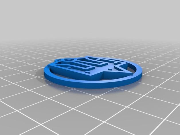 乌克兰三叉戟 吊坠 3D打印模型渲染图
