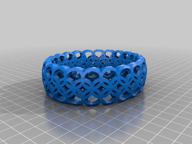Megan Dmitrenko几何图案手镯 3D打印模型渲染图