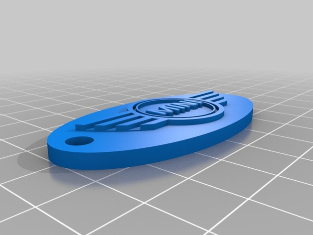 mini cooper椭圆形汽车钥匙坠 3D打印模型渲染图