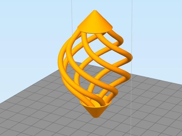 镂空螺旋 吊坠 3D打印模型渲染图