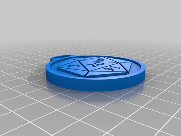 d20和邪神钥匙扣 3D打印模型渲染图