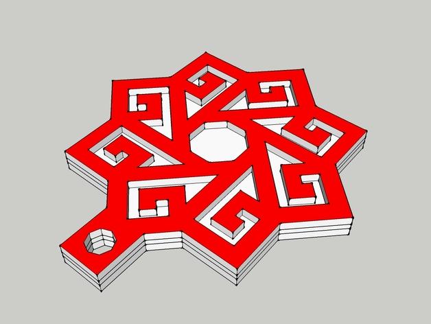 土耳其多维结构吊坠 3D打印模型渲染图