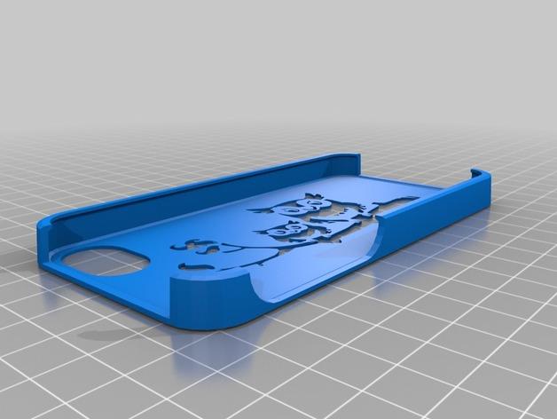 猫头鹰妈妈和猫头鹰宝宝  iPhone 5手机保护套 3D打印模型渲染图
