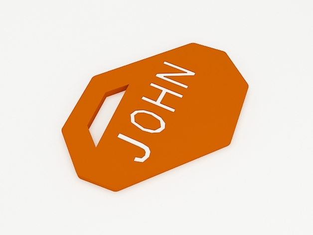 John钥匙扣 3D打印模型渲染图
