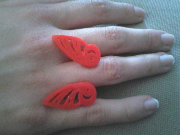 蝴蝶翅膀戒指 3D打印模型渲染图