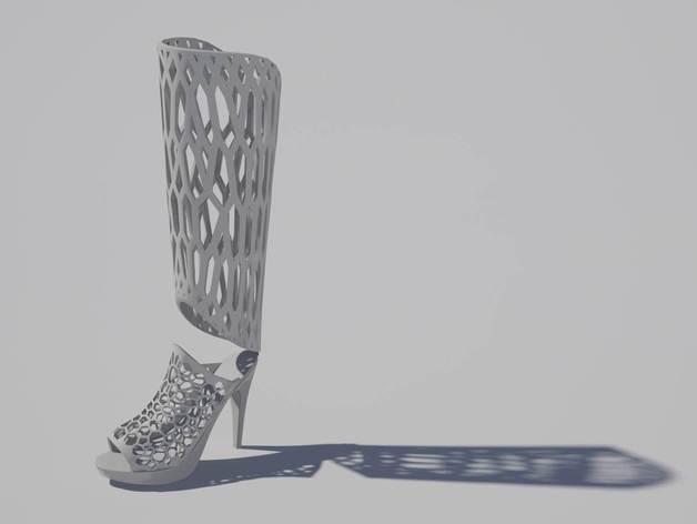 镂空高跟靴子 3D打印模型渲染图