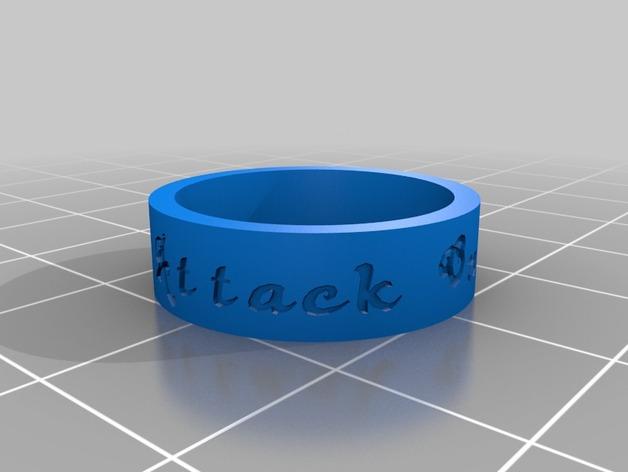 进击的巨人指环 3D打印模型渲染图