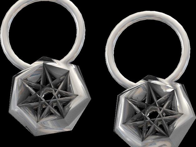 星星耳坠 3D打印模型渲染图