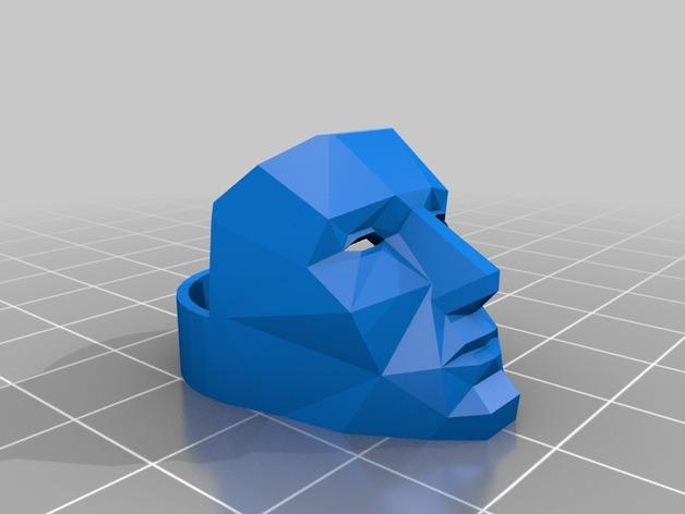 低面数面具戒指 3D打印模型渲染图