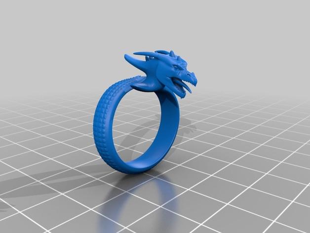 龙行戒指 3D打印模型渲染图