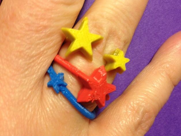 星星戒指 3D打印模型渲染图