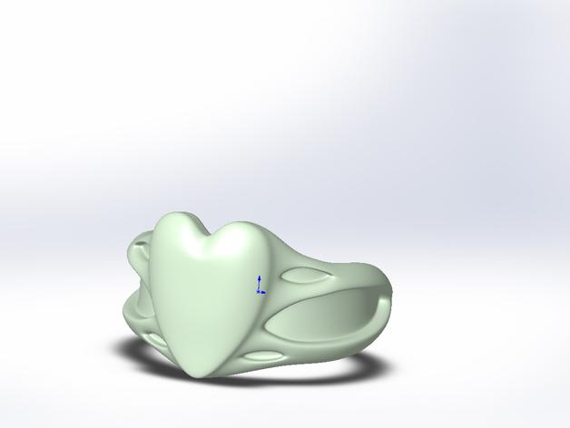 桃心戒指 3D打印模型渲染图