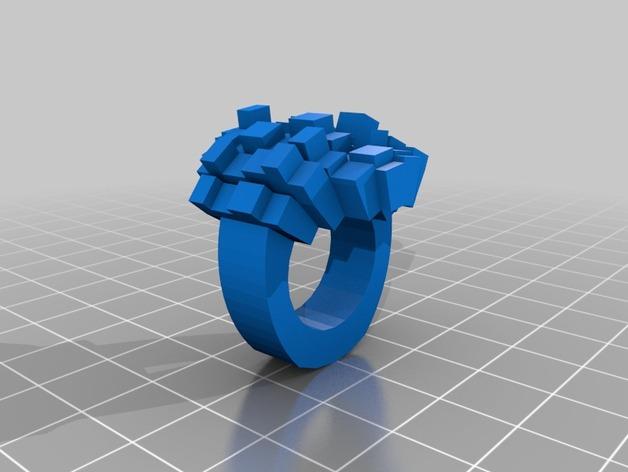 8bit图素戒指 3D打印模型渲染图