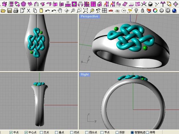 中国结 戒指 3D打印模型渲染图