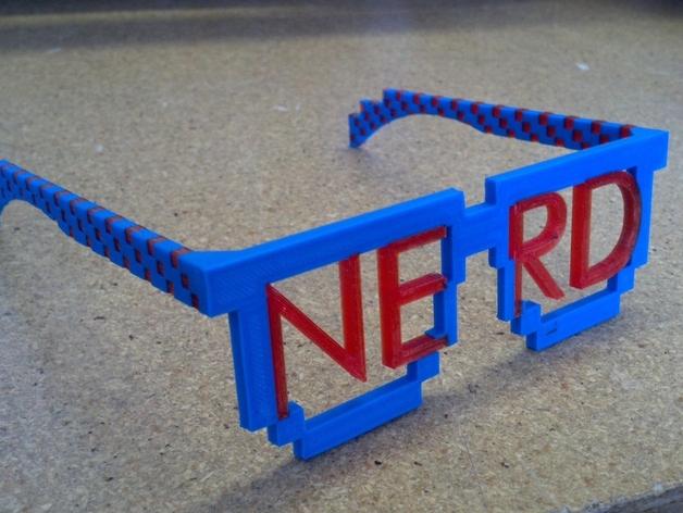 书呆子眼镜 3D打印模型渲染图