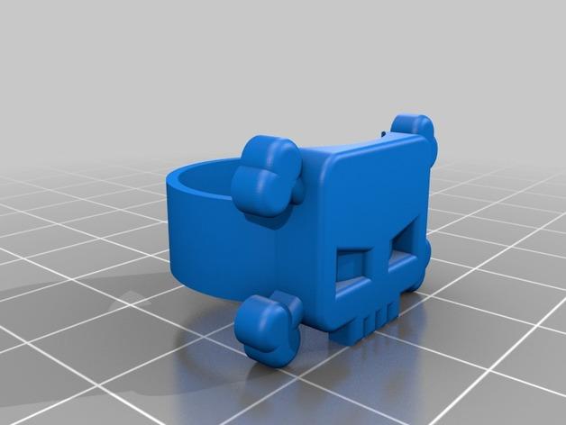 头骨戒指 3D打印模型渲染图