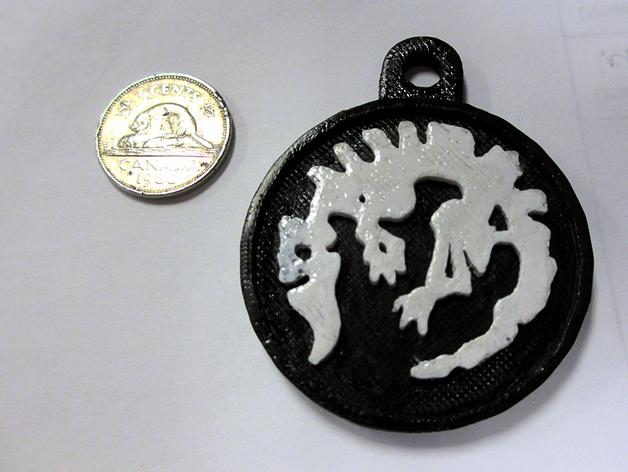 化石吊坠 3D打印模型渲染图