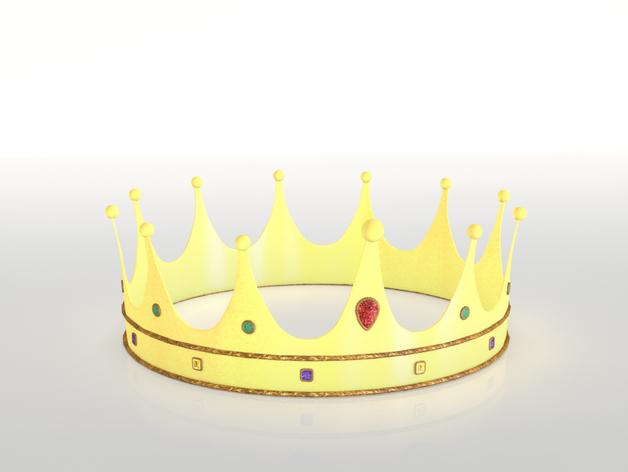 黄金皇冠 3D打印模型渲染图