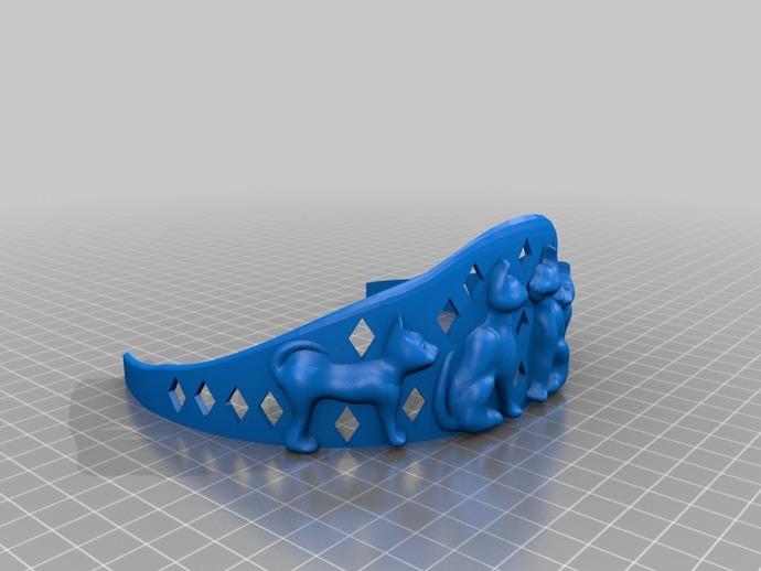 小猫皇冠 3D打印模型渲染图