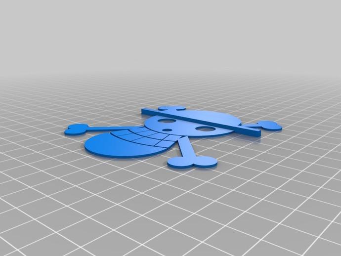 草帽海贼团 标志 3D打印模型渲染图