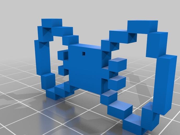 像素蝴蝶结 3D打印模型渲染图