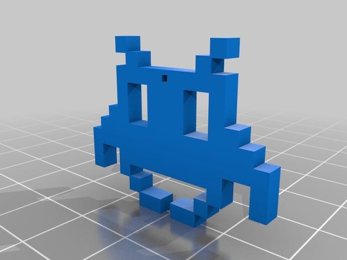 太空入侵者 吊坠 3D打印模型渲染图