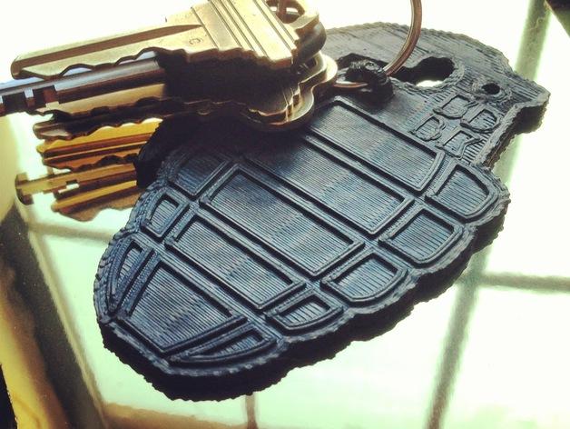 手榴弹钥匙扣 3D打印模型渲染图