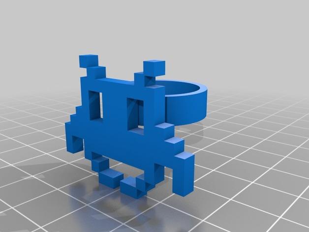 可定制像素艺术戒指 3D打印模型渲染图