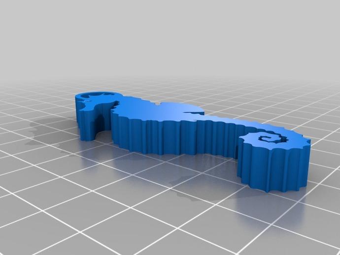 海马钥匙扣 3D打印模型渲染图